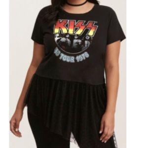 NWT Torrid 2 Kiss Concert Band Tshirt w Lace Hem
